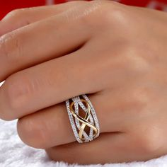 Fashion Luxury Exquisite 925 Sterling Silver Wedding Engagement Ring Two Tone Gold Plating Love Infinity Bowknot Rings for Women Diamond Jewelry Bling Bling, Diamond Jewelry, Gold Jewelry, Gold Necklace, Jewellery, Fashion Rings, Fashion Jewelry, Gold Ring Designs, Eternity Ring