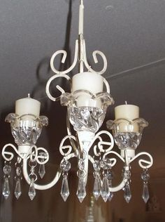 Shabby Chic White Scroll Chandelier Home Decor French Provincial Votive Candles