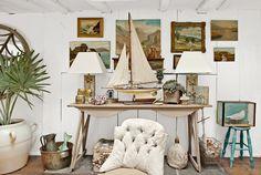 Vintage paintings... and a great boat DESDE MY VENTANA: UNA CASA EN FORMA DE BARCO / COASTAL HOUSE IN NEW YORK