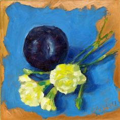 Carnations and a plum to welcome spring. oil on copper. 6x6 $200 www.sheffieldartstudio.com