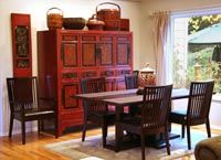 Fugin cabinet looks great in this dining room. Similar can be found at Antiques by Zaar.see link below. Buddah Statue, Asian Design, Feng Shui, Liquor Cabinet, Backyard, Living Room, Storage, Antiques, Chinese