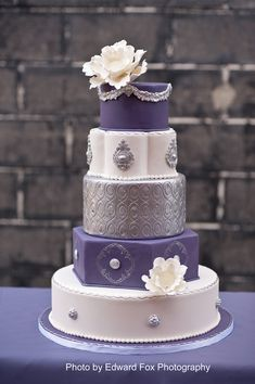 Beautiful purple and silver wedding cake by Elysia Root Cakes | Edward Fox Photography
