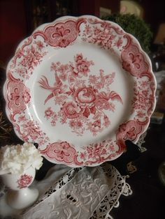 Red / Pink English Transferware Plate Roses by EnglishTransferware