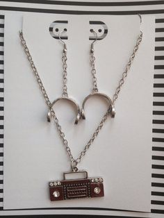 b071820ea Hip Hop Old School Boom box Stereo and headphones Necklace and Earrings set  on Etsy,