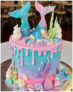 Little Mermaid Cakes, Mermaid Birthday Cakes, Birthday Cakes For Teens, Girl Birthday, Birthday Ideas, Sirenita Cake, Cake Candy, Cupcakes Decorados, Teen Cakes