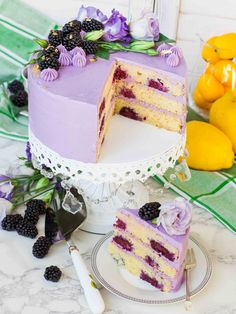 This Lemon Blackberry Cake with lavender French buttercream is the perfect cake for summer! Every bite of this lavender cake is filled with incredible flavor. Summer Wedding Cakes, Summer Cakes, French Buttercream, Buttercream Frosting, Blackberry Cake, Lavender Cake, French Cake, Cake Pricing, Wedding Cake Flavors
