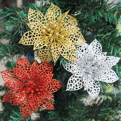10 pcs Colorful Glitter Hollow Flowers for Christmas Tree Decorations.  Valentines Day DecorationsXmas Tree DecorationsDecoration PartyGarden ... 50c810e54e73