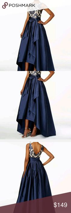 Adrianna Papell Lace Taffeta High Low Gown Color: Blue, floral New with tags Adrianna Papell Dresses Prom