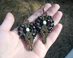 Micro macrame earrings Olive green Black Rustic by MartaJewelry