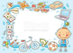 Blue rectangular frame with a child and his things, toys, sweets, computer, sports equipment.