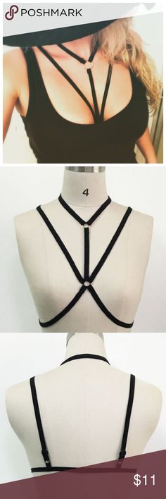 Sexy black body harness: Medium Size: Large. I am a size 32-34 and fit in size small Intimates & Sleepwear Bras