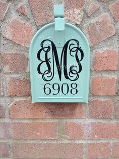 Custom Mailbox Personalized Monogram and Address Vinyl Decal by SassyMonogramAndMore on Etsy https://www.etsy.com/listing/199765955/custom-mailbox-personalized-monogram-and