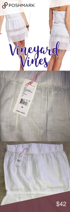 🐳 NWT Vineyard Vines Swim Cover up White Medium👙 New strapless Vineyard Vines swim suit cover up.  Draw string waste. Vineyard Vines Swim Coverups