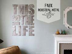 East Coast Creative: Faux Industrial Metal Letters {Tutorial} This could be a cool way to paint a picture frame or furniture. Metal Furniture, Diy Furniture, Industrial Furniture, Painting Furniture, Furniture Design, Outdoor Furniture, Diy Wall Art, Wall Decor, Playroom Decor