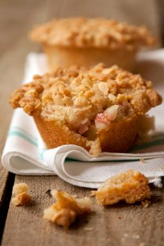 Rhubarb Muffins with Almond Streusel Recipe - Saveur.com