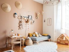 A charming children& room with peach-brown walls and natural wood furniture.- A charming children& room with peach-brown walls and natural wood furniture… A charming children& room with peach-brown walls and… - Baby Bedroom, Kids Bedroom, Bedroom Decor, Scandinavian Kids Rooms, Natural Wood Furniture, Rustic Furniture, Antique Furniture, Cool Kids Rooms, Brown Walls