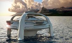 Private Island Luxury Futuristic Home  Wow! I home on the ocean water.. Now they don' gone too far with this.. 4 landing pads, all luxury, all fun.. Imagine night time parties.  http://realestate.yahoo.com/promo/private-island-homes.html