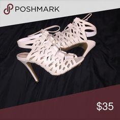 Peep toe heels. These off white peep toe lace up heels are perfect for a special occasion or just a fun girls night out! Charlotte Russe Shoes Heels