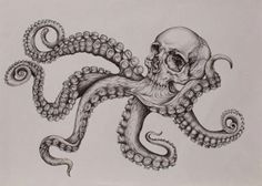 Unique black-and-white octopus skull tattoo design,  #blackandwhite #Design #Octopus #octopustattoosleevenautical #skull #tattoo #unique Owl Skull Tattoos, Octopus Tattoo Sleeve, Indian Skull Tattoos, Small Skull Tattoo, Evil Skull Tattoo, Skull Girl Tattoo, Octopus Tattoos, Skull Tattoo Design, Tattoo Sleeve Designs