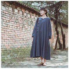 Women spring cotton linen loose dress