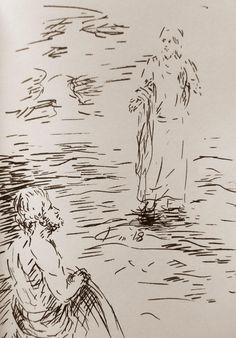 14 Avril 2018, évangile du jour illustré par un dessin au lavis
