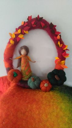 Needle felted wreath. Merino and corriedale wool over home grown basket willow wreath. Waldorf needle felted woman, pumpkins and woolen felt leaves. To celebrate the seasons. Made by Dreamstitch NZ