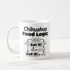 Chihuahua Food Logic Coffee Mug   funny chihuahua pictures, chihuahua dachshund mix, chihuahua funny hilarious #chihuahuasantiago #chihuahuapelolongo #chihuahuasofportland Chihuahua Tattoo, Chihuahua Quotes, Chihuahua Puppies, Mother's Day Promotion, Preschool Gifts, Rat Terriers, Fox Terrier, Lhasa Apso, Italian Greyhound