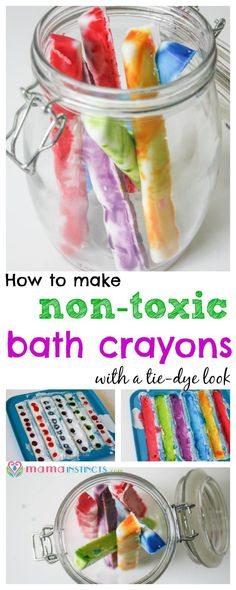 Make bath time fun with these non-toxic tie-dye crayons. They are easy to make, safe and kid-friendly. Click to find out how to make it or pin it for later.