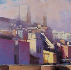 Randall Sexton, Rooftop Access, 30 x Oil Contemporary Landscape, Urban Landscape, Landscape Art, Landscape Paintings, Landscapes, Urban Painting, Light Painting, Building Painting, City Painting