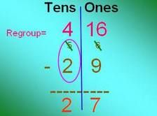 Subtraction with Regrouping - Rhyme...more on top, no need to stop; more on the floor, go next door and get ten more