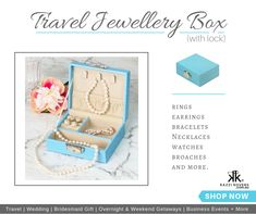 TRAVEL JEWELLERY BOX (with lock) | Protect and store your jewellery whilst away in Kazzi Kovers practical jewellery travel box. Accommodating your favourite pieces, from rings to necklaces, this beautiful box is an absolute must-have!   Crafted in strong MDF (and not cardboard) and finished in soft beige velvet and PU Leather, it will fit comfortably into your handbag, tote, suitcase or carry-on.  Colours: Blue, Black, Pink or Mauve