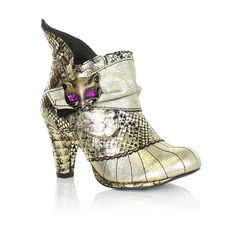 WOMENS LADIES GOLD BLACK IRREGULAR CHOICE MIAOW CAT FACE ANKLE BOOTS SIZE 3-8   eBay