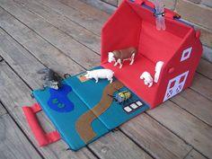 Standard 3 D style - barn house - like the pond- unisex - Fabric barn fold up doll house