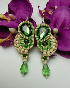 Lime green oriental long earrings soutache from Soutacheria by DaWanda.com