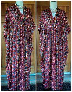 Vintage 60s Caftan Floral Hippie Momie Weave Kaftan Bohemian Free Size by caligodessvintage, $68.00