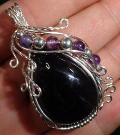 Wire Wrapped Pendant Dark Purple Amethyst