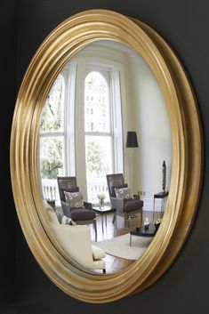 Create instant impact with this huge mirror in hand leafed gold. Available with convex or flat mirror, all made to order.  #largeroundmirror #largewallmirror #overmantlemirror #roundmirror #roundwallmirror #goldmirror Extra Large Round Mirror, Huge Mirror, Convex Mirror, Round Wall Mirror, Mirror With Lights, Round Mirrors, Overmantle Mirror, Flat, Create