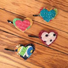 Recycled Kantha Heart Hair Pins - assorted patterns and colors. #fairtrade #India