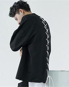 Mens back lace up t shirt batwing sleeve hip hop streetwear