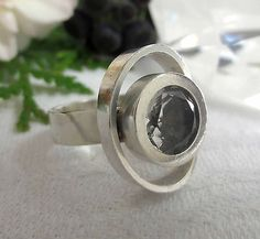 Elis Kauppi for Kupittan Kulta,  Modernist vintage sterling silver and crystal ring, 1960's. #Finland