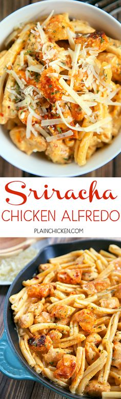Sriracha Chicken Alfredo - super quick pasta dish that is ready in 15 minutes and requires no prep work! Chicken, sriracha seasoning, garlic and onion powder, heavy cream, parmesan cheese and pasta. W (Italian Chicken Alfredo) I Love Food, Good Food, Yummy Food, Tasty, Sriracha Chicken, Spicy Chicken Pasta, Garlic Pasta, Mexican Chicken, Italian Chicken