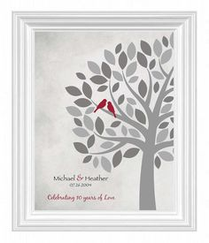 10th Anniversary Print Gift For Wife Wedding 8x10 Other Colors