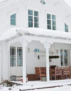 Outdoor living spaces are great for sunny days! This one may be covered in snow, but it's still really pretty. :)
