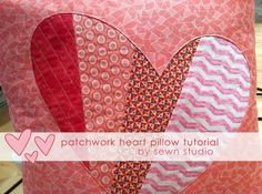 Patchwork Heart Pillow Tutorial by Sewn Studio - sew-whats-new.com
