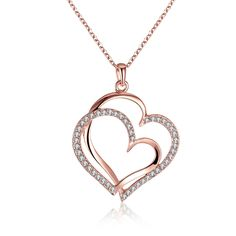 Popular Double Heart Lady Rhinestone Pendant Necklace