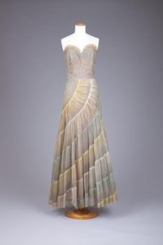 Ruched Net Evening Gown, ca. 1940s via Goldstein Museum of Design