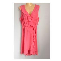 Host Pick  Apt.9 ruffle faux wrap dress Pink sleeveless V-neck, unlined dress. Elastic waistband. Size large. 100% poly Apt. 9 Dresses