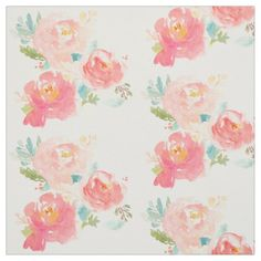 Peonies Summer Bouquet Watercolor Pastel Fabric