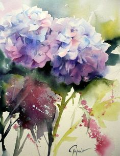 Watercolor By Jean Claude Papeix Watercolor Artists, Watercolour Painting, Watercolors, Abstract Flowers, Watercolor Flowers, Arte Floral, Flower Art, Artwork, Hydrangeas