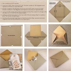Paper Loves Glue: Envelope Tutorial for Embellished Cards (standard cards, x… Tutorial Envelope, Envelope Diy, How To Make An Envelope, Envelope Punch Board, Card Making Tutorials, Card Making Techniques, Card Envelopes, Making Envelopes, Diy Cards